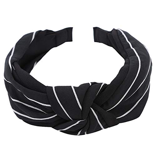 New Fabric Simple Stripe Knotted Knot Wide-brimmed Headband Hair Accessories QP (Color - Black)