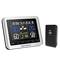 Weather Station, Digital Indoor Outdoor thermometer Hygrometer Barometer Wireless Weather Forecast Station with Remote Sensor, Humidity Monitor, Alarm Clock, Time Readings (Colorful with Multi Angles)
