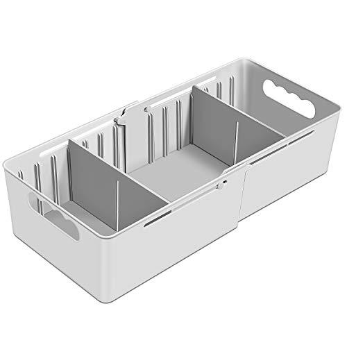 HEYIDA 3 Section Organizer Divider Plastic Drawer Closet Desk Small Organizers and Storage Adjustable & Expendable, Dresser, Office, Sock, Ties, Underwear, Bathroom - Gray
