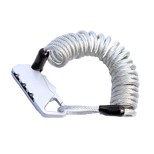 - UiiziC Bike Lock Cable, 55-Inch Portable Mini Lock Security 3 Digit Resettable Combination Coiling Cable Lock for Baby Strollers, Suitcases and Laptop Bags, Silver