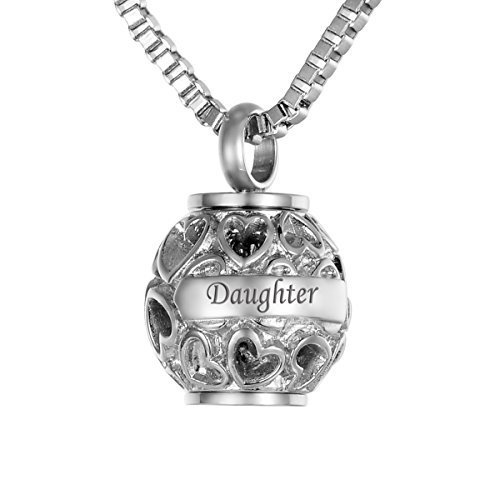 "Price comparison product image VALYRIA Hollow Diamond Heart Beads ""Daughter""+""Always in my heart"" Cremation Urn Necklace, Silver Tone"
