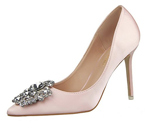 T&Mates Womens Pointed Toe Rhinestones Buckle High Heel Satin Wedding Evening Dress Pumps (7.5 B(M) US,Pink)