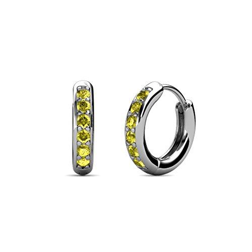 (TriJewels Petite Yellow Diamond Huggies Hoop Earrings 0.24 Carat tw in 14K White Gold )
