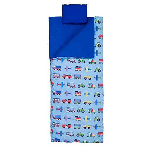 Wildkin Original Sleeping Bag, Features Matching Travel Pillow and Coordinating Storage Bag, Perfect for Sleeping On-The-Go, Olive Kids Design – Trains, Planes, & Trucks ()