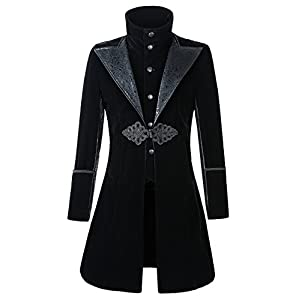 DarcChic Mens Velvet Gothic Leather-Lapel Trench Coat Steampunk Victorian