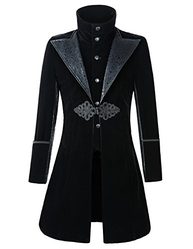 Velvet Gothic Leather-Lapel Trench Coat