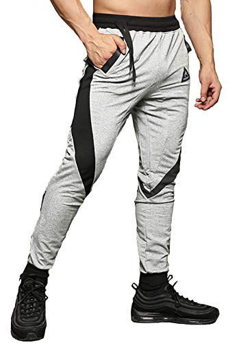 FASKUNOIE Men's Running Pants Athletic Walking Trousers Rave Pants with Zipper Pockets Light Gray