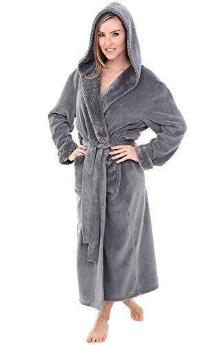 Alexander Del Rossa Womens Fleece Robe, Long Hooded Bathrobe, Small Medium Steel Gray with Jacquard (A0263STJMD)