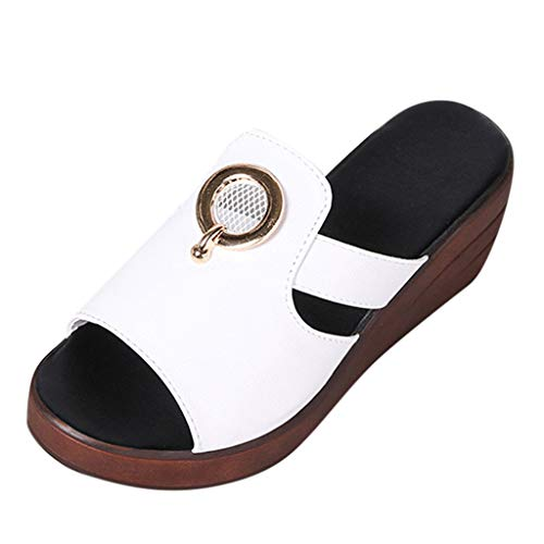 Benficial Women's Summer Solid Color Wedge Non-Slip Peep Toe Slippers Lady Sandals White