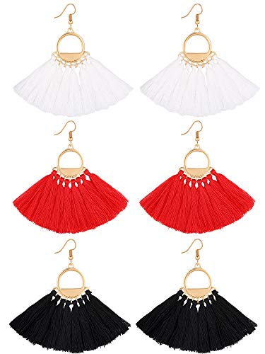 Gejoy 3 Pairs Tassel Earrings Bohemia Eardrop Fan Shape Tassel Drop Earrings for Women Girls, 3 Colors
