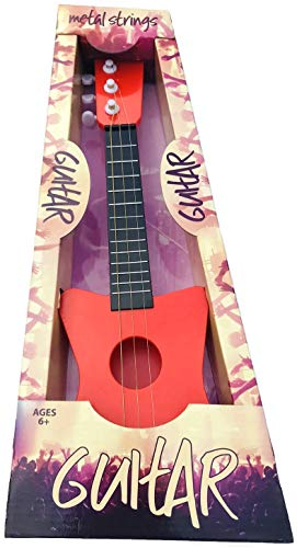 18″ MINI GUITAR WITH METAL STRINGS, 3 STRINGS & ADJUSTABLE TUNING PEGS GREAT FOR A BEGINNER ROCK STAR! COLOR RED!
