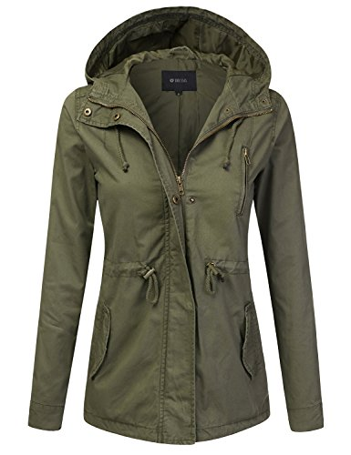 DRESSIS Women's Lightweight Military Anorak Hooded Jacket OLIVE XL