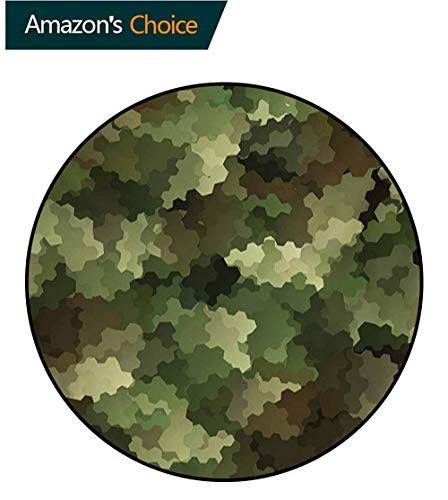 Camo Round Kids Rugs,Frosted Glass Effect Hexagonal Abstract Being Invisible Woodland Print Learning Carpet Non Skid Nursery Kids Area Rug For Playroom,Round-63 Inch Green Pale Green And Brown