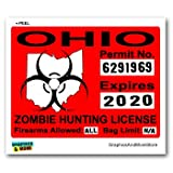 Ohio OH Zombie Hunting License Permit Red - Biohazard Response Team - Window Bumper Locker Sticker