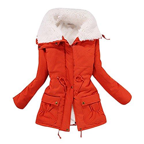 Abrigos Mujer De Pelo Invierno Militar Parka Elegantes Fiesta Casual Tallas Grandes Chaquetas Con Cremallera Cuello Alto Manga Larga Más Grueso Cálido Ropa De Abrigo Bolsillo Color Sólido Rojo