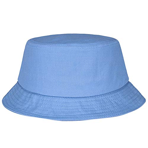 HYIRI Bucket Sun Hunting Hat Cotton Fishing Brim Visor Men Summer Camping Cap Light Blue