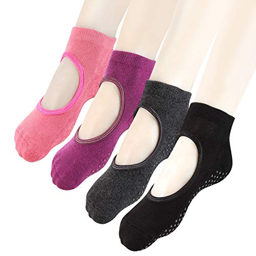 Yoga Socks Non Slip Skid Pilates Ballet Barre with Grips for Women Girls 4 Pack by Cooque (yoga socks-4 pack)
