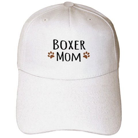 InspirationzStore Pet designs - Boxer Dog Mom - Doggie by breed - brown muddy paw prints love - doggy lover - proud mama pet owner - Caps - Adult Baseball ()