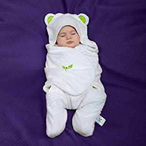 EBBlankie Bamboo Lyocell Swaddle Blanket – Premium Quality, Eco-Friendly, Thermo-regulating, Antibacterial, Hypoallergenic, Ultra Soft, and Unisex Baby Swaddle Wrap/Sleep Sack, Green Ears/Medium