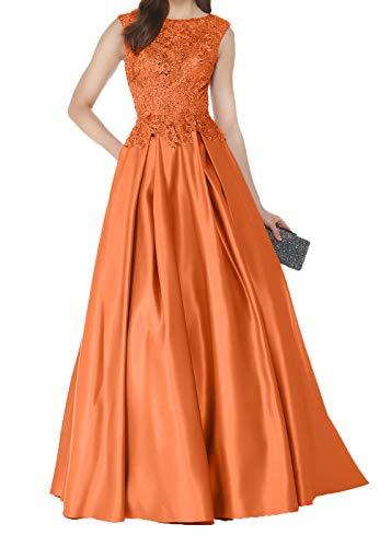 Partykleider Lang Mutterkleider Hochzeits Brautmutterkleider Satin Orange Charmant Fuer Abendkleider Damen Spitze qzUwT8