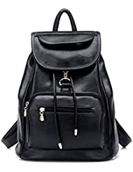 Women Faux Black Leather Backpacks Purse, Girl Travel Daypack Fashion School Bag