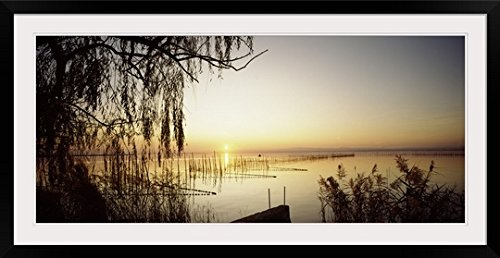 GreatBIGCanvas ''Silhouette of trees at the lakeside, Albufera, Valencia, Spain'' Photographic Print with Black Frame, 48'' x 21'' by greatBIGcanvas