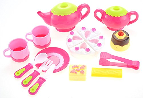 (PowerTRC Pretend Tea and Dessert Play Set - Cuttable Play Cake - Toy Plates and Utensils | Pink Teapot Play Kitchen Accessories Gift for Kids)