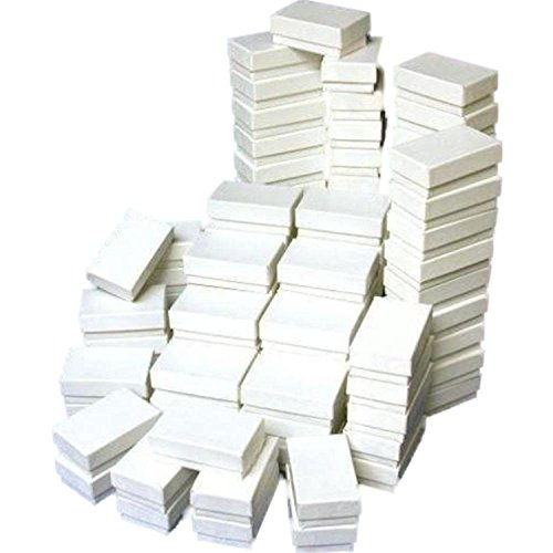 (FindingKing 100 Cotton Boxes White Pendant Chain Charm Jewelry Displays 2 5/8