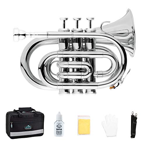 EastRock Pocket Trumpet Brass Bb Nickel Plated