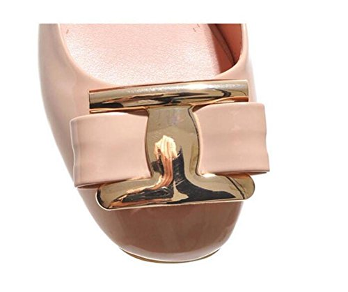 Punta XIE casuale donna bocca basso corte per tacco comodo cuoio vernice 39 36 scarpe rotonda APRICOT da aiutare con superficiale di scarpe FqxdqgAw