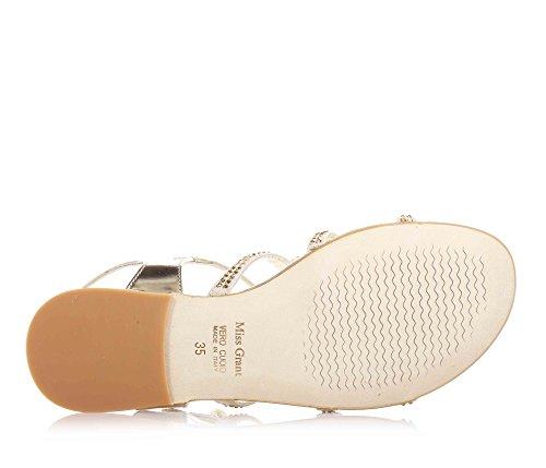 MISS GRANT - Sandale dorée en cuir et suède, style élégant et très chic, avec fermeture avec boucle, application de strass décoratifs, Fille, Filles, Femme, Femmes