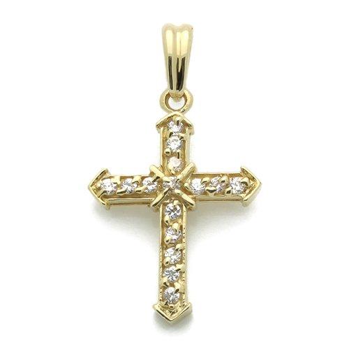 """Petits Mrveilles D'amour - pendentif Religieux - Or Jaune 585/1000 (14ct) - Oxyde de Zirconium """"Croix"""""""