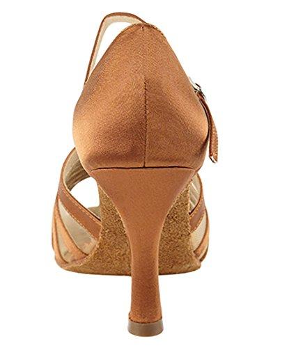 Chaussures De Danse Salsa Tango Latine Très Fine Pour Femmes Sera2719 Talon De 2,5 Pouces + Bundle De Pinceau Pliable Brun Foncé Satiné