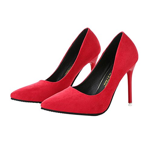 Shallow Pointed Shoes High Suede 10CM Single Women's Red Heels Meijunter Mouth Ladies x166Rq
