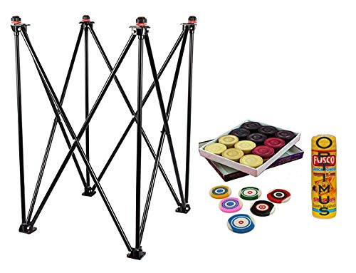 Optimus® Carrom Board Stand with Carrom Coins Carrom Disco Powder & Carrom Stricker for All Size Carrom - Hydraulic Adjustable Foldable Corrosion Free Steel - Style 1