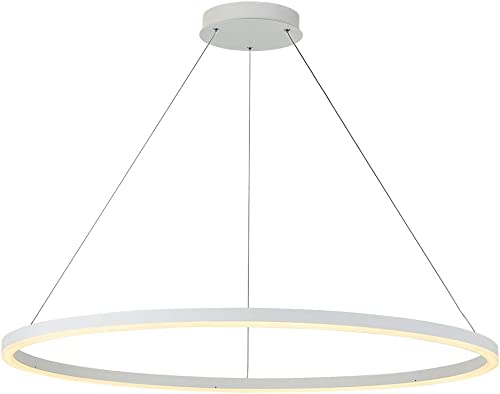 ROYAL PEARL Foyer Chandelier LED Contemporary Adjustable 1 Ring Hanging Pendant Light Fixture