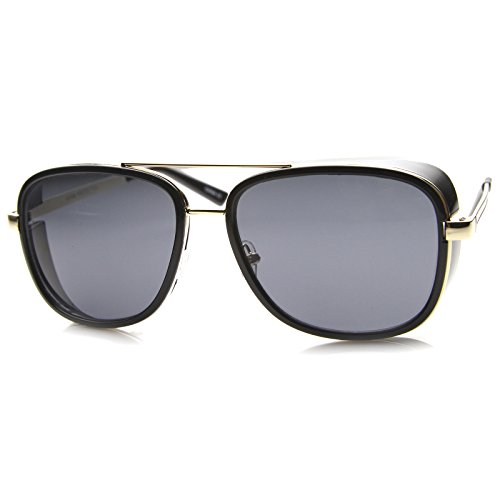 zeroUV - Classic Side Shield Double Bridged Flat Lens Metal Aviator Sunglasses 55mm (Black-Gold / - Sides Gold Glasses With