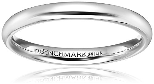 High Domed Comfort-Fit 14K White Gold Band, 3mm, Size 9.5 ()