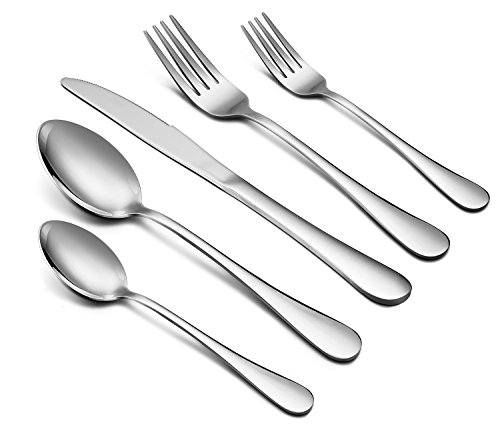 Line Dessert Steel (Silverware Set, 40-Piece Flatware Set, E-far Stainless Steel Utensil Set Service for 8, Dinner Knives/Forks/Spoons, Simple & Classic Design, Mirror Finish & Dishwasher Safe)