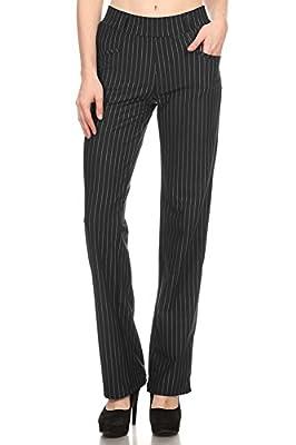 VIV Collection New Women's Straight Fit Trouser Pull-On Pants | 4 Styles Long/Short/Capri/Ankle