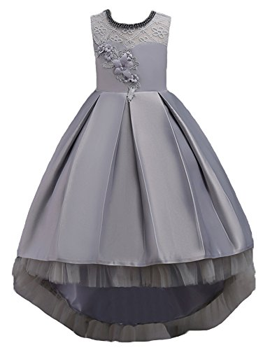 Girls Dresses for Kids Party Graduation Age of Size 9 10 Tea Length Sleeveless Lace Tulle Formal Girl Dresses Wedding Embroidered A Line Petal Tutu Ball Gown Christmas Junior Teen (Gray, 150) ()