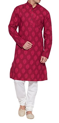 ShalinIndia Men Cotton Long Kurta Nehru Collar 3 Pockets-Raspberry-Size 42 inch by ShalinIndia