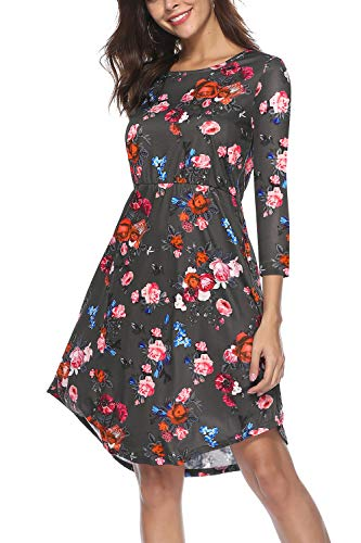 NICIAS Women Floral Short Sleeve Tunic Vintage Midi Casual Dress with Pockets (0-3/4 Sleeve-Dark Grey, - Coat Vintage Classic