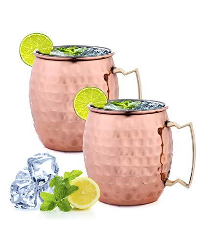 ARTISANS VILLAGE Moscow Mule Copper Mugs, 100% HANDCRAFTED, Food-safe Copper Mugs with Brass Handle and Stainless-Steel Lining, Highest Quality Cocktail (Set of 2, Hammered) Copper Stainless Steel Mug