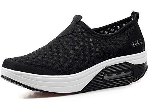 Women's Platform GFONE Shoes Shoes Loafers Mesh Walking Fitness Sneakers Running Trainers Black Wedge TwtFt