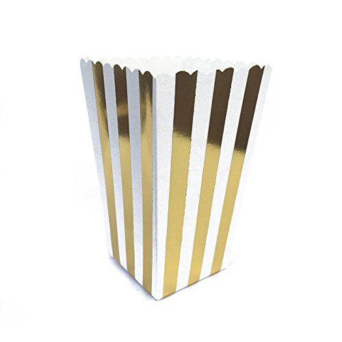 R 12pcs Popcorn Boxes Bags Kids Party Treat Boxes Wedding Birthday Decorations Vertical Striped gold TOOGOO