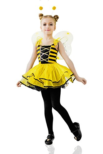 [Kids Girls Honey Queen Bee Halloween Costume Bumblebee Wasp Dress Up & Role Play (3-6 years, yellow,] (Halloween Costumes For Girl Kids)