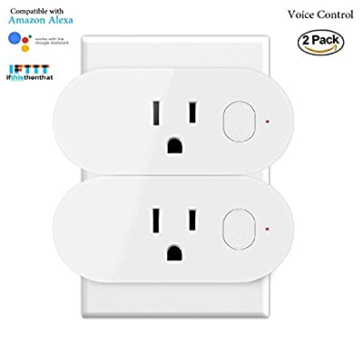 Mini Smart Plug Wifi Socket Outlet Compatible with Alexa Echo Dot & Google Assistant & IFTTT with Energy Monitor Voice Control No Hub Required Timing Function