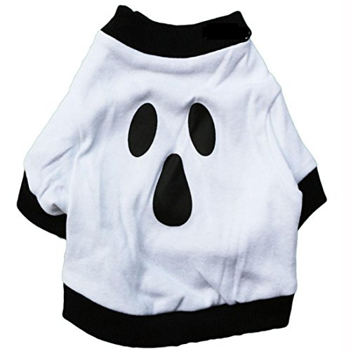 [XILALU Dog Clothes Cotton Halloween costumeWhite Ghost Pet Shirt (M)] (Snuggles Dog Costume)