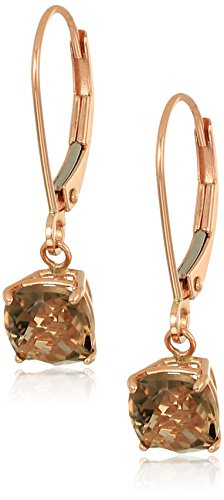 10k Rose Gold Cushion Checkerboard Cut Smokey Quartz Leverback Earrings (6mm) (Smokey Checkerboard Quartz)